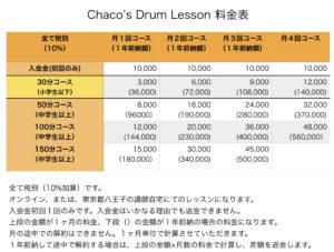 ドラムスクール料金表